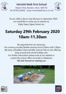 Open day 2020information